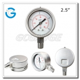Pressure gauge types with 2.5 inch dial all stainless steel material bayonet ring